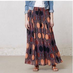 Anthropologie Maeve Hexprint Pattern Maxi Skirt M